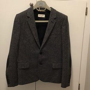 Saint Laurent herringbone w elbow patch jacket